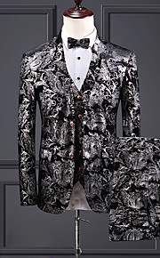 Hombre trajes, Cachemir Solapa de Pico Poliéster / Licra Plata XXXL / XXXXL / XXXXXL