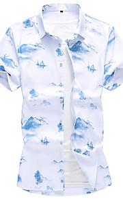 Hombre Camisa Geométrico Blanco XXXXL