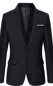 Муж. Блейзер, Однотонный Лацкан с тупым углом Полиэстер Темно синий / Серый / Винный XL / XXL / XXXL