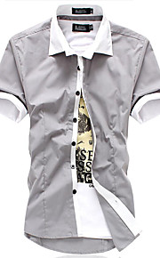 Herrn Solide / Einfarbig Hemd Patchwork Rosa L