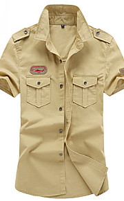 Муж. Рубашка Однотонный Военно-зеленный XXXXL