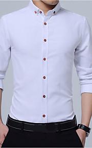 Camisa delgada de algodón para hombre - cuello de camisa de color sólido