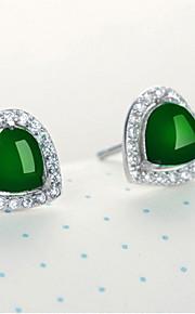 Dámské Zelená Kubický zirkon Emerald Cut Peckové náušnice S925 Sterling Silver Náušnice Vintage Sladký Cute Style Šperky Tmavě zelená Pro Svatební Párty Denní 1 Pair