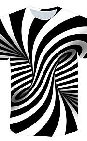Miesten Painettu Geometrinen / Color Block / 3D T-paita Valkoinen XXXXL