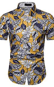 Heren Print Overhemd Bloemen Wit XL