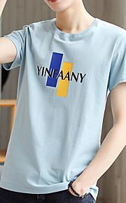 camiseta delgada de los hombres - letra cuello redondo