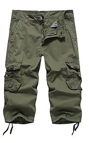 Hombre Básico Chinos Pantalones - Un Color Verde Ejército