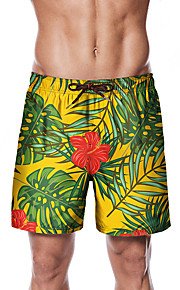 Herre Sporty / Basale Chinos / Shorts Bukser - Planter / Blomstret / Tropisk Gul