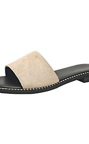 여성용 구두 말 헤어 여름 캐쥬얼 슬리퍼 플립 플롭 플랫 오픈 토에 일상 용 블랙 / 아몬드