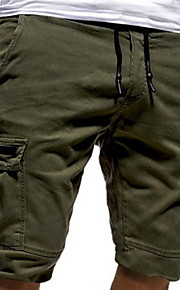 Hombre Básico Shorts Pantalones - Un Color Gris Oscuro