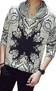 Skjorte Herre - Geometrisk / Batikkfarget, Trykt mønster Gatemote / Elegant Svart XXXL
