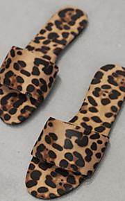 Dame Semsket lær Sommer Tøfler og flip-flops Flat hæl Leopard