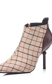 Naisten Satiini Syystalvi Vintage / Englantilainen Bootsit Stilettikorko Terävä kärkinen Säärisaappaat Ruskea / Sininen