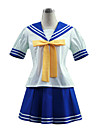 Inspirerad av Lyckliga stjärna Izumi Konata Animé Cosplay-kostymer cosplay Suits Skoluniformer Lappverk Kortärmad Topp Kjol Knyta Till