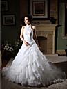 Da ballo All\americana Strascico da cappella Organza Merletto in rilievo Abiti da sposa personalizzati con Perline Con applique A strati