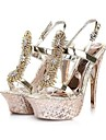 Satin Upper Stiletto Heel Sandals With Rhinestone Wedding Shoes.More Colors Available