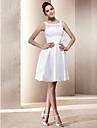 Linha A Scoop pescoço Curto / Mini Renda Tafetá Vestidos de noiva personalizados com Laço Miçangas Apliques Faixa / Fita de LAN TING