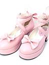Încălțăminte Lolita dulce Lolita dulce Prințesă Toc Înalt Încălțăminte Nod Papion 6.5 CM Negru Roz Pentru PU piele/Piele poliuretan Piele