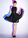 Fit & Flare Bateau Neck Knee Length Chiffon Stretch Satin Cocktail Party Dress with Sequin Draping by TS Couture®
