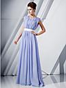Linia -A Scoateți gâtul Lungime Podea Șifon Seară Formală Rochie cu Paiete / Eșarfă / Panglică de TS Couture®