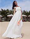 A-Line Scoop Neck Floor Length Chiffon Custom Wedding Dresses with Beading Draping by LAN TING BRIDE®