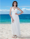 A-Line V Neck Floor Length Chiffon Custom Wedding Dresses with Beading Criss-Cross Button Ruched by LAN TING BRIDE®