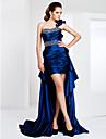 Teacă / coloană un umăr scurtă / mini asimetrică mată / perie tren taftă rochie de seară cu cristal de ts couture®