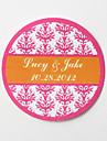 autocolante personalizate favoarea rotunde - print floral roz (set de 36)