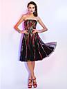 Linia -A Prințesă Mulată Fără Bretele Lungime Genunchi Tulle Petrecere Cocktail Concediu Rochie cu Pliuri de TS Couture®