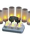lumina galbenă caldă a condus lumânări reîncărcabile fără flacără (6pcs / pachet)