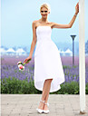 Linia -A Fără Bretele Asimetric Tafta Made-To-Measure rochii de mireasa cu de LAN TING BRIDE® / Mica Rochie Albă
