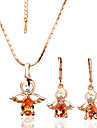 superb cristal înger 18k bijuterii din aur set cu stras, inclusiv cercei, colier