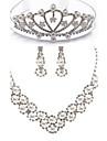 aliaj chic cu stras / imitație de perle set de bijuterii pentru femei, inclusiv colier, cercei, diadema