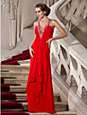 A-Line Plunging Neckline Floor Length Chiffon Formal Evening / Military Ball Dress with Beading by TS Couture®