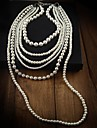 女性 ステートメントネックレス レイヤードネックレス パールネックレス 真珠 ファッション ホワイト ジュエリー パーティー 誕生日