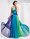 A-Line Strapless Sweetheart Floor Length Chiffon Prom / Formal Evening Dress with Crystal Detailing Color Block Ruched by TS Couture®