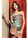 Frauen stilvolle One-Schulter asymmetrische Print Kleid (Länge: 68cm Büste :86-102cm Taille :58-79 Hip :90-104cm)