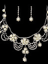 frumos stras / imitație perla de mireasă set de bijuterii - 17 inch colier cu cercei