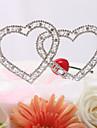 Vârfuri de Tort Inimi / Cuplu Clasic Nuntă / Petrecerea Bridal Shower / Aniversare Ștras Argintiu Temă Grădină / Temă Clasică OPP