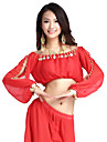 Belly Dance Tops Women\'s Training Chiffon Coin Long Sleeves Top