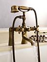 Antichizat Vană și Duș Clawfoot Duș De Mână Inclus Valvă Ceramică Două găuri Alamă Antichizată , Robinete de Duș Robinete de Vană