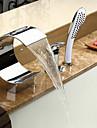 Lightinthrbox Sprinkle®Robinet Vană - Contemporan Crom Cascadă Împrăștiat Trei găuri