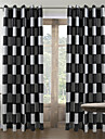 Stångficka Hyls-topp Hällor topp Dubbel veckad Två paneler Fönster Behandling Medelhavet, Jacquard Pläd/Rutig Vardagsrum Polyester