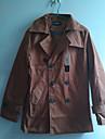 Kaki Dacron Mediu Stil rever gât Coat Midoo bărbați