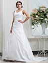 Corte en A Escote en Pico Capilla Tafetan Vestidos de novia hechos a medida con Recogido Lateral por LAN TING BRIDE®