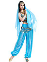 Belly Dance Outfits Women\'s Chiffon Beading Sequin Coin Top Pants Hip Scarf Headwear