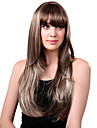 Capless Long Synthetic Blandade Rakt lockigt hår peruk Full Bang