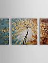 HANDMÅLAD Blommig/Botanisk Horisontell Panoramautsikt, Parfymerad Duk Hang målad oljemålning Hem-dekoration Tre paneler