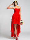 A-Line Strapless Asymmetrical Chiffon Bridesmaid Dress with Ruched Cascading Ruffles by LAN TING BRIDE®