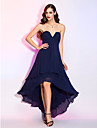 A-Line V Wire Asymmetrical Georgette Prom / Formal Evening Dress with Draping / Ruched by TS Couture® / High Low
